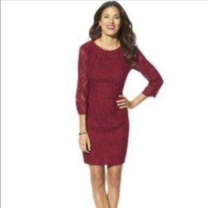 Merona burgundy lace sleeved fall dress
